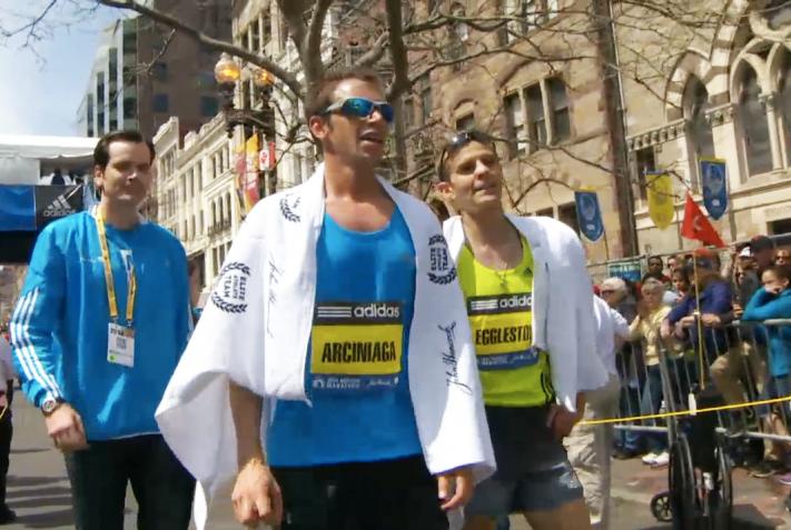 Arciniaga and Eggleston at Boston Marathon Finish